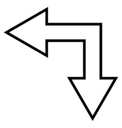 Choice Arrow Left Down Outline Icon vector image