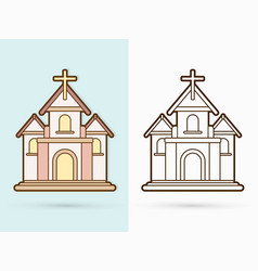 christian church with cross building cartoon vector image