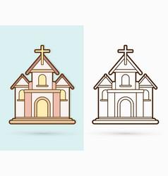 Christian church with cross building cartoon vector