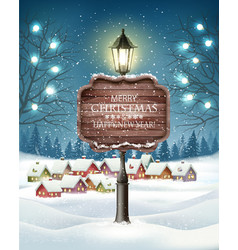 christmas evening winter landscape with lampposts vector image