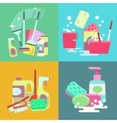 Cleaning service concept background set vector image