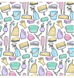 Cleaning tools doodle seamless pattern vector