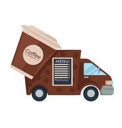 Coffee truck menu paper cup with cover hot drink vector