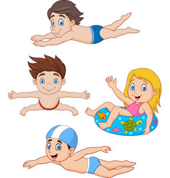 collection of kids swimming collection set vector image