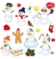 Collection of snowmen and christmas icons vector