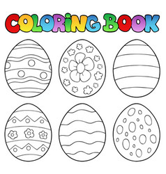 coloring book with easter eggs vector image