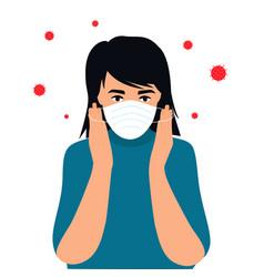 covid19-19 coronavirus symptoms the kid puts vector image