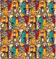 Crowd people like cats and dogs seamless pattern vector