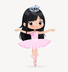 cute child girl ballerina dancing isolated vector image