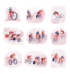 cycling tour set compositions vector image