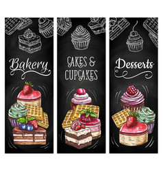 desserts cakes and bakery sketch banners vector image