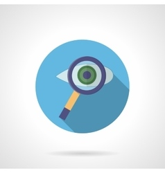 Eye with magnifier round flat color icon vector