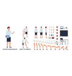 female teacher in various poses animation set vector image