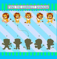 Find correct shadow cartoon cute lion vector