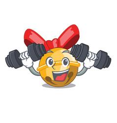 fitness jingle bells christmas isolated on mascot vector image