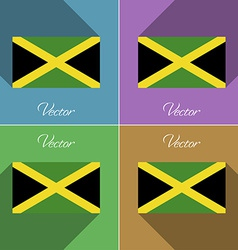 Flags Jamaica Set of colors flat design and long vector