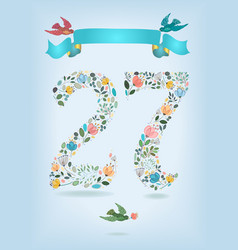 floral number twenty seven with ribbon and birds vector image