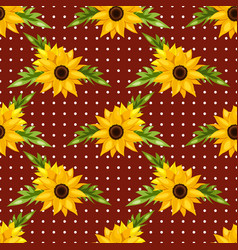 floral seamless pattern sunflowers vector image