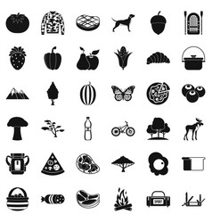 Forest camping icons set simple style vector