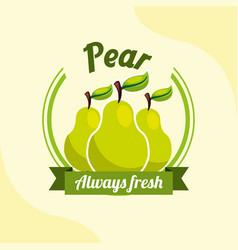 fruit pear always fresh emblem vector image