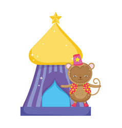 Funny circus monkey with hat in tent vector