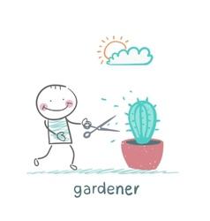 Gardener mows cactus vector