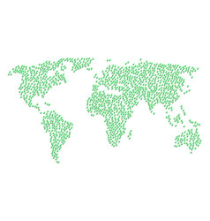 Global map mosaic of flora plant icons vector