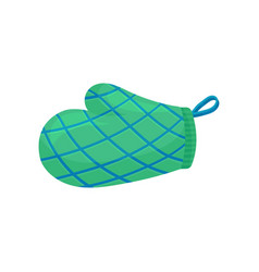 Green oven glove or mitt with blue stripes used vector