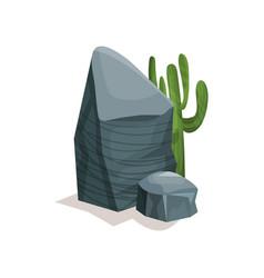 grey stone and cactus landscape design element vector image