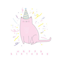 hand drawn greeting card for birthday vector image