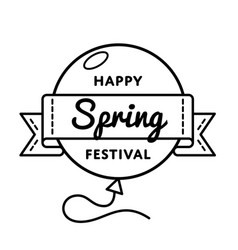 happy spring festival greeting emblem vector image