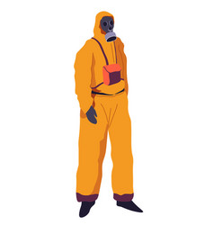Hazmat suit with respirator protective suit vector
