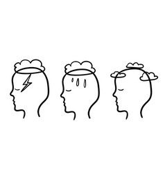 Head profile with storm cloud rain and clear sky vector