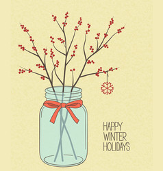 Holly twigs in mason jar vector