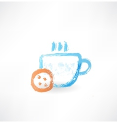 Hot cup grunge icon vector image