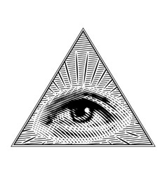 human eye in a triangle in vintage style vector image