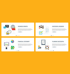 Internet banner set business growth and vector
