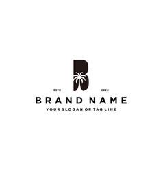 Letter b palm logo design concept vector