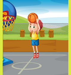 little boy shooting basketball vector image