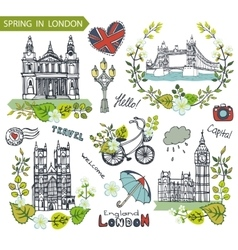London landmarkSpring green leaves wreath group vector