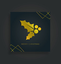merry christmas greeting card holly leaf vector image