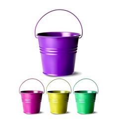 metal bucket bucketful different colors vector image
