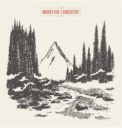 Mountains fir forest river hand drawn vector