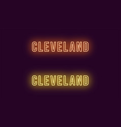 Neon name of cleveland city in usa text vector