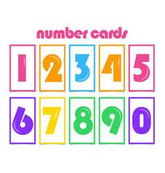 Number cards for kids template design vector