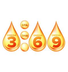 Omega fatty acid epa dha drops set vector