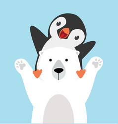 panguin riding on polar bear vector image