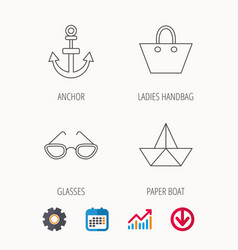 Paper boat anchor and glasses icons vector