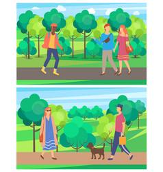 Passeroutdoor walking in park leisure vector