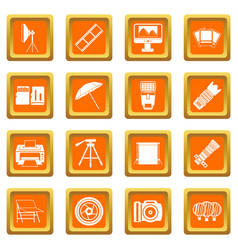 Photo studio icons set orange vector